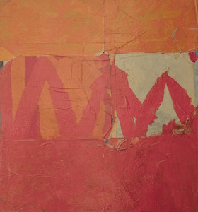 'Red M,' George Dunbar, acrylic and paper collage.