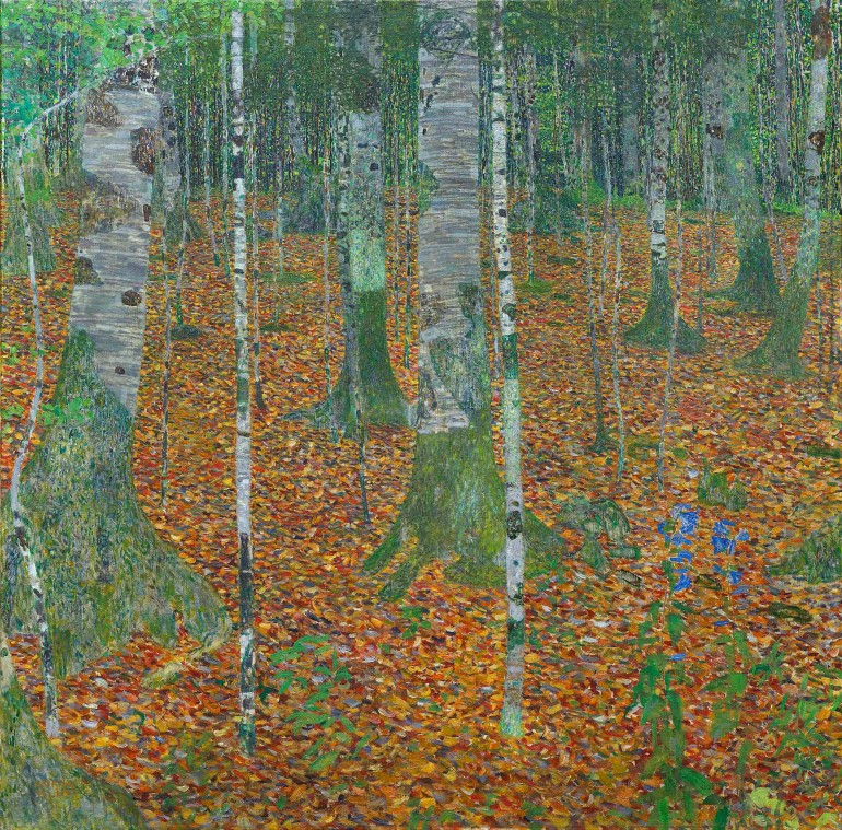 "Gustav Klimt, ""Birch Forest,"" 1903. Oil on canvas, 42 1/4 x 42 1/4 in. Paul G. Allen Family Collection"