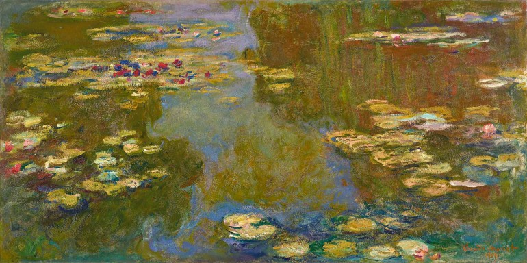 """Claude Monet, """"Water Lily Pond,"""" 1919. Oil on canvas, 39 3/8 x 78 7/8 in. Paul G. Allen Family Collection"""