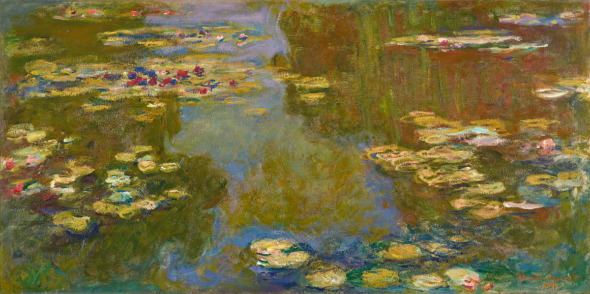 "Claude Monet, ""Water Lily Pond,"" 1919. Oil on canvas, 39 3/8 x 78 7/8 in. Paul G. Allen Family Collection"