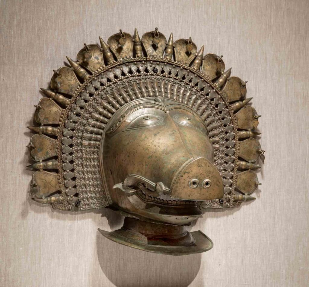 India, Karnataka, Panjurli (Boar's Head) Bhuta Mask, 18th century, Bronze, New Orleans Museum of Art, Gift of Dr. Siddharth K. Bhansali, 97.853