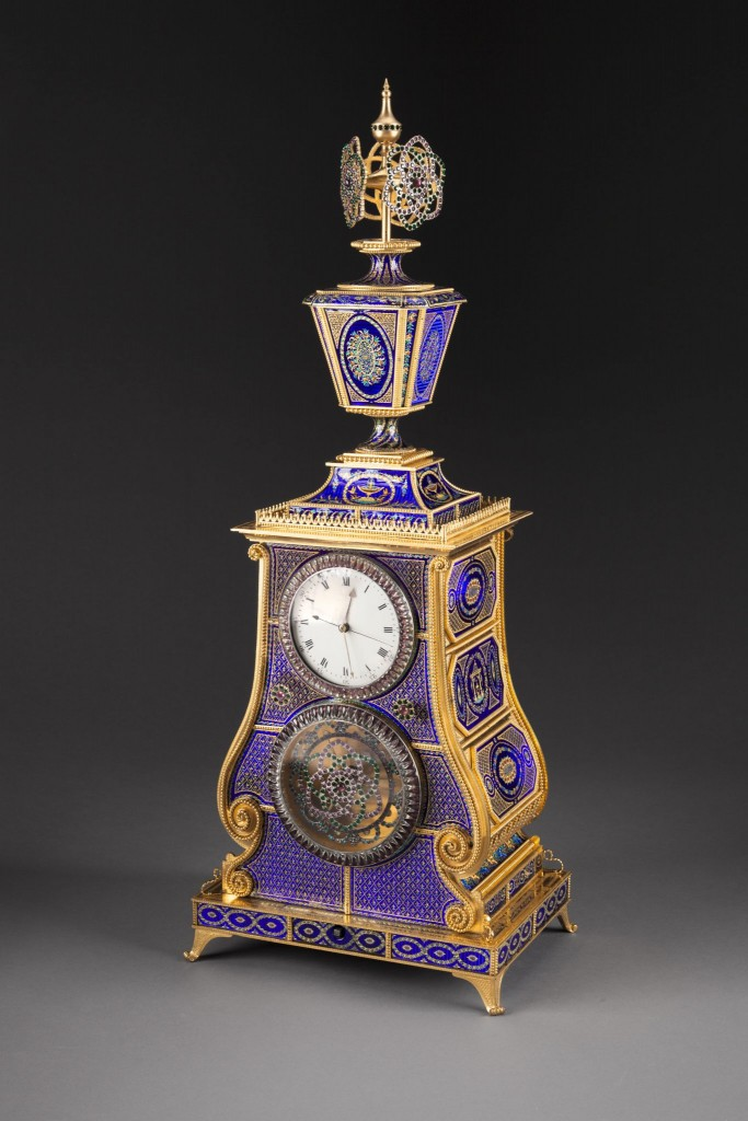 English, for Chinese Market, Automaton Musical Clock, c. 1790, In the manner of James Cox, Ormolu (gilt bronze), Guilloché enamel, paste jewels, and metal movements; 28 1⁄2 in. high, New Orleans Museum of Art: Bequest of Mr. and Mrs. Robert C. Hills, 2001.253.369