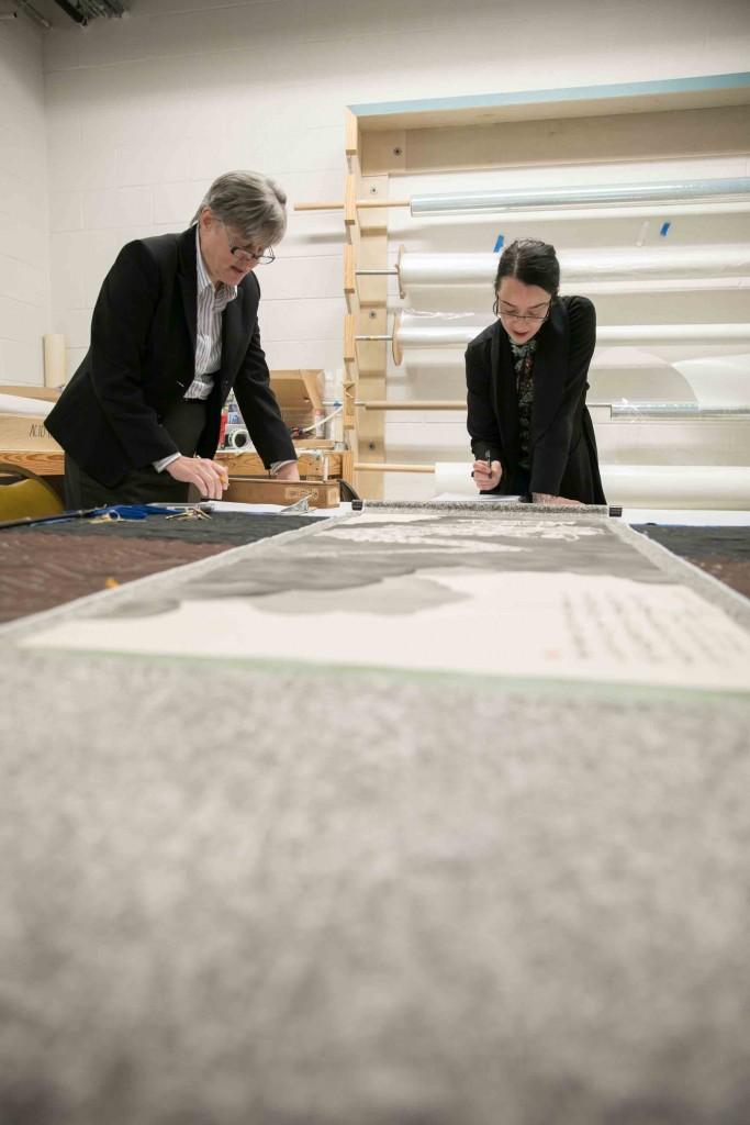 Curator Lisa Rotondo McCord Left And New Orleans Artist Regina Scully Examine A Japanese Scroll At NOMA Photo By Roman Alokhin