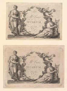 Trade Card for Cox's Museum [London, England], 1772. Francesco Bartolozzi, engraver. (Bodleian Libraries, Oxford University)