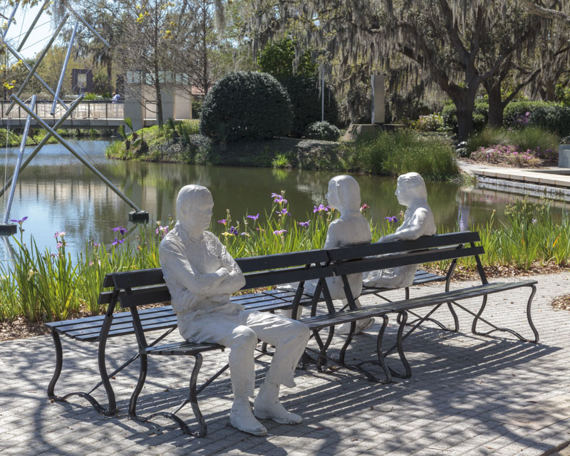 Family of Three Bench Sculpture