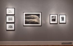 At center: Heihachiro Sakai (Japanese, b. 1930), <em>Untitled</em>, c. 1959, Gelatin silver print, Museum purchase, Tina Freeman Fund and funds provided by George and Milly Denegre, 2018.77