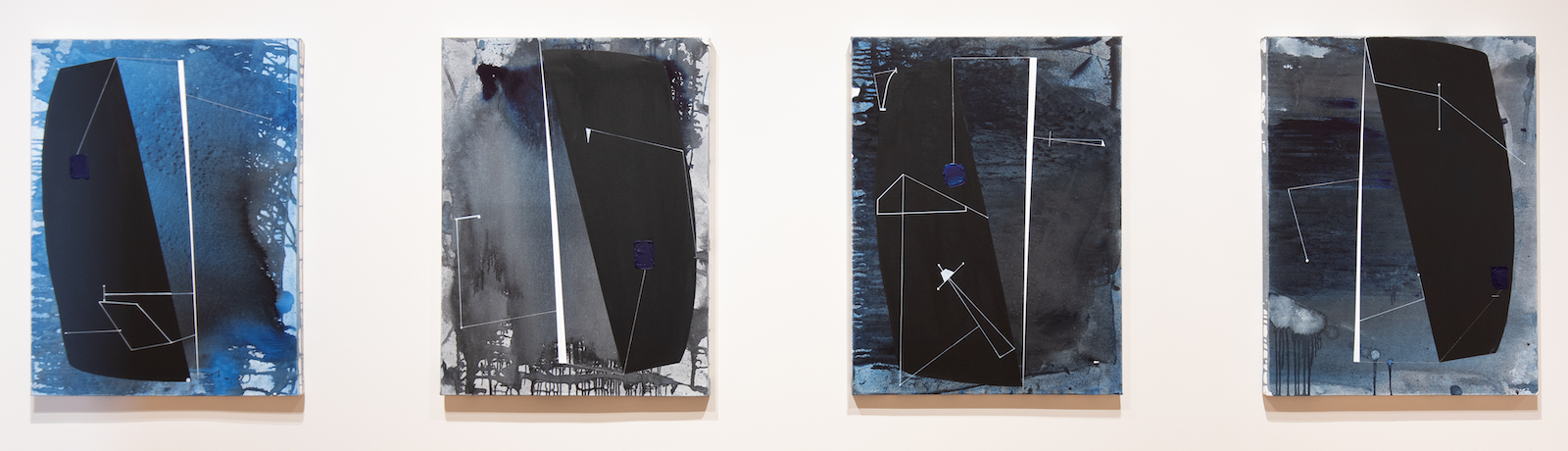 A series of fifteen abstract paintings by African American artist Torkwase Dyson examine the legacy of plantation economies.