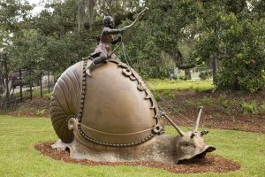 sculpture, bronze, large snail with rider