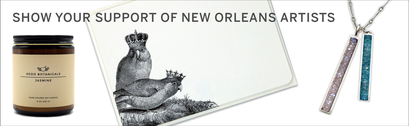 Shop our collection of items that are created by New Orleans artists and support local businesses!