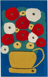 A painting by Clementine Hunter shows a brown vase with red, white, and yellow flowers.
