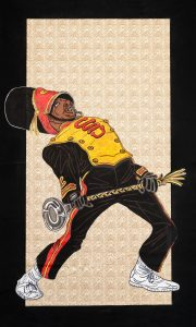 In an artwork by Keith Duncan, a drum major in a Grambling State uniform dances with a baton in hand.