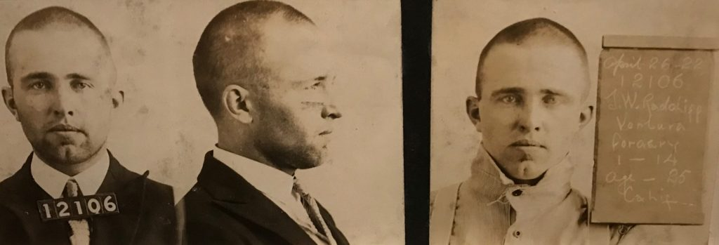 A mug shot shows profile and front-facing views of J.W. Radcliffe.